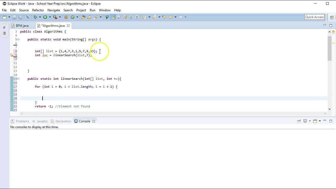 Core Algorithms - Linear Search: Java