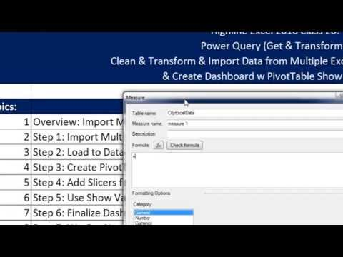 Highline Excel 2016 Class 20: Power Query Import Multiple Excel Files & PivotTable Show Values As