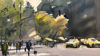 "Advancing with Watercolor: Watercolor on Location NYC - ""Crossing at Columbus Circle"""