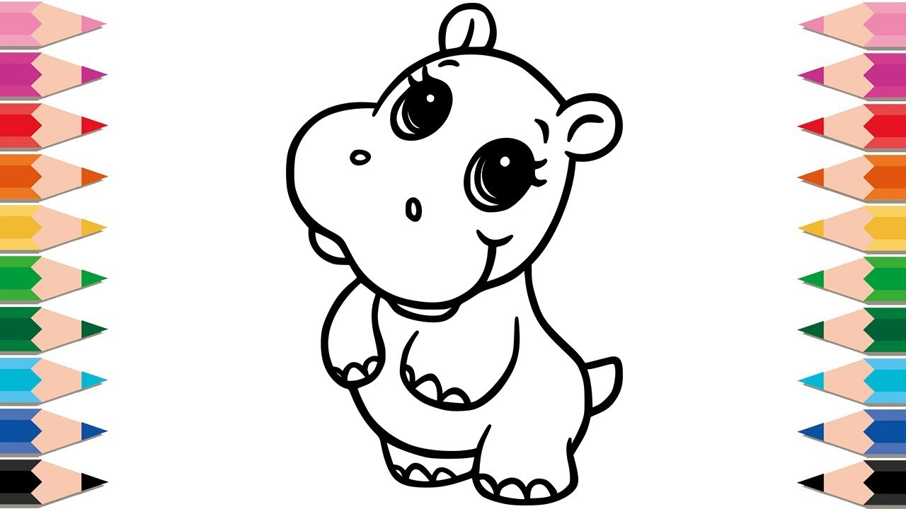 How To Draw Cute Hippo Coloring Pages Drawing And Learning Colors For Baby Kid Toddlers