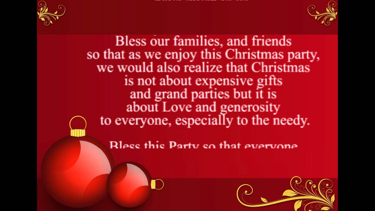 Prayer for Christmas Party - YouTube