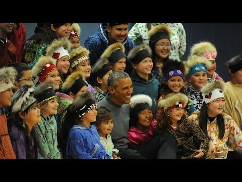 President Obama dances an Alaska Native dance in Dillingham, AK