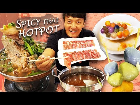 Trying SPICY THAI HOTPOT & Morning Market Street Food In Khon Kaen Thailand