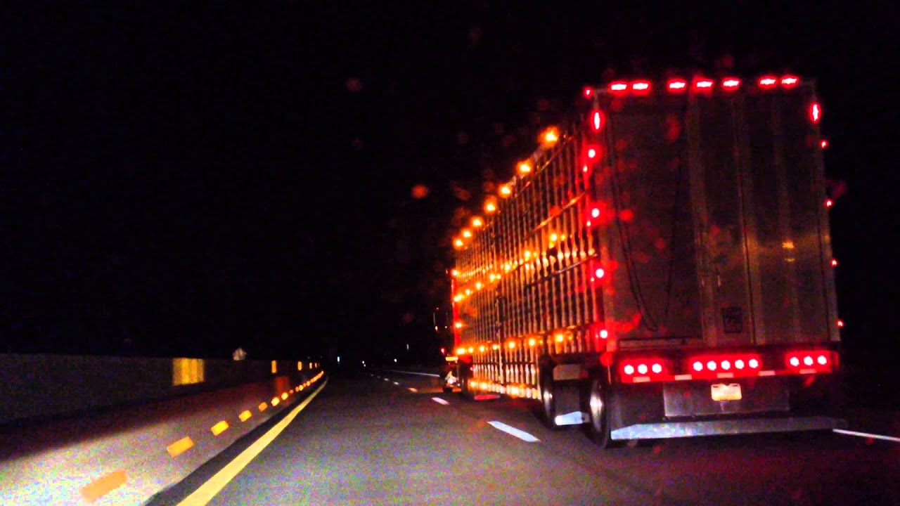 semi truck with a lot of bright lights