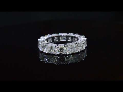 Radiant And Round Cut Diamond Eternity Ring Prong And Micro Pave