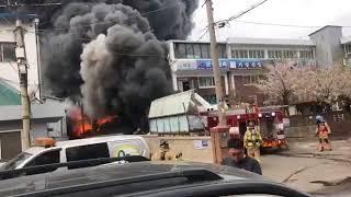 인천화재 후진하던 소방차 폭발 사고영상