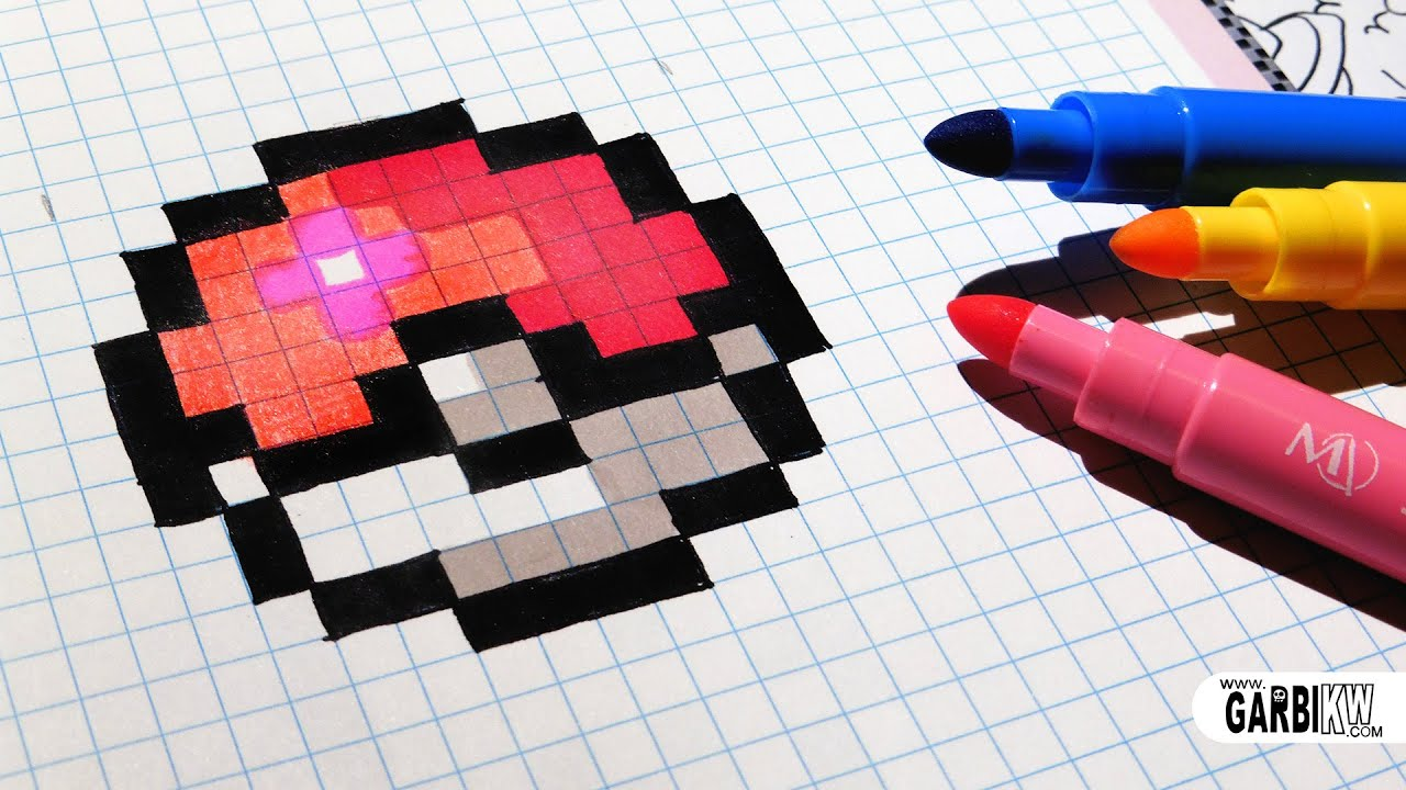 Handmade Pixel Art How To Draw Easy Pokeball Pixelart Youtube