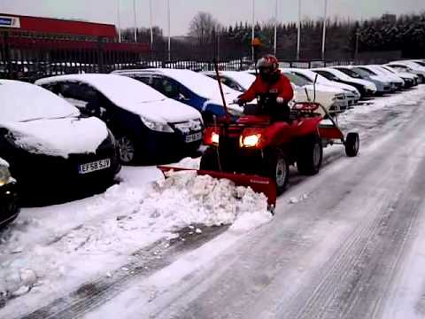 Honda Atv With Snow Clearing Solution Youtube