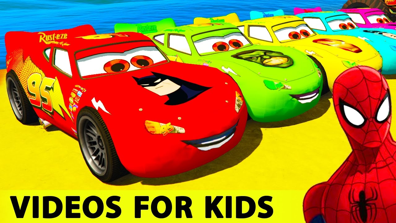 Color Cars Lightning Mcqueen And Spiderman Cartoon With Colors For Kids And Children Nursery Rhymes Youtube