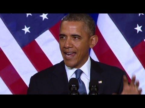 President Barack Obama talks about U.S. intelligence