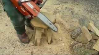 Стул-табурет из бревна своими руками(Как сделать своими руками табурет из обрезка бревна с помощью бензопилы. Мебель из дерева своими руками...., 2014-06-10T15:39:19.000Z)