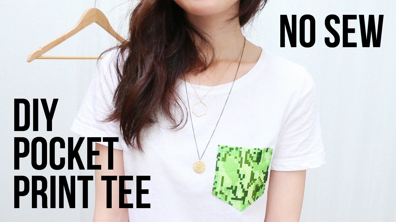Diy pocket print tee no sewing required cathydiep for How to put a picture on a shirt diy