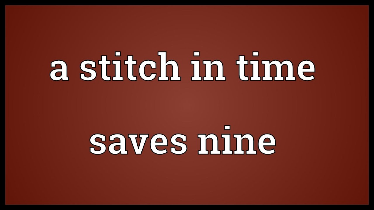 593 words essay on a stitch in time saves nine