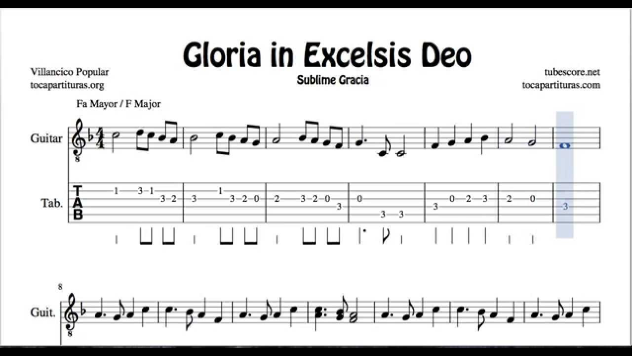 Gloria In Excelsis Deo Tab Sheet Music For Guitar F Major Christmas