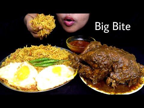 ASMR VEG BIRYANI WITH WHOLE CHICKEN CURRY & GRAVY    Food Videos