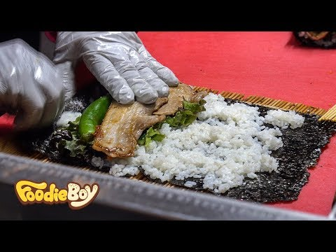 Pork Belly Kimbap / Korean Street Food / Seomun Night Market, Daegu Korea