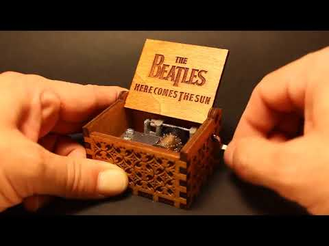 The Beatles - Here Comes The Sun- Engraved Wooden Music Box by buzz79