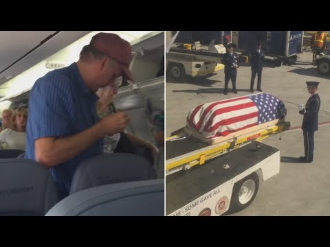 Passengers 'disrespect' transport of airman's body