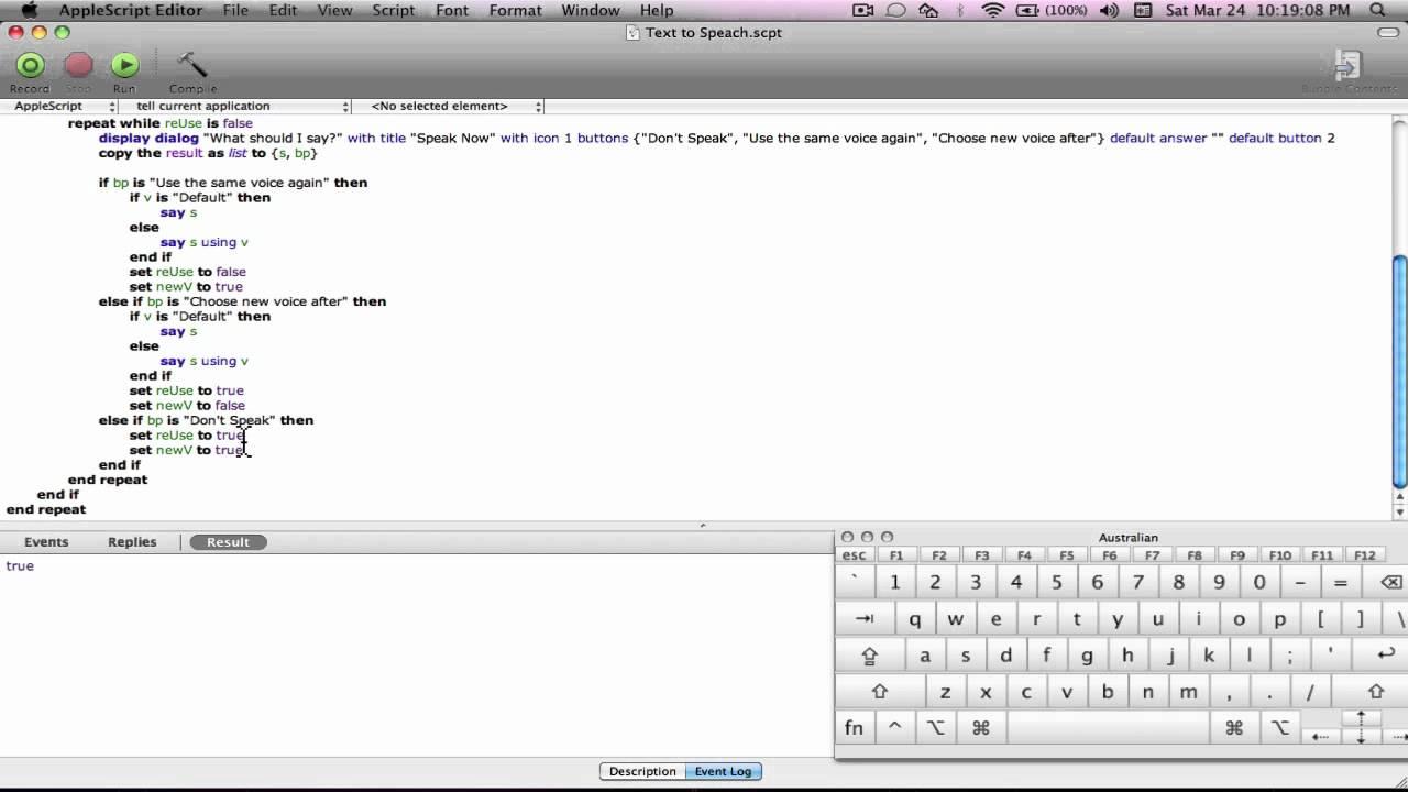 Applescript Tutorial (Text to Speech)