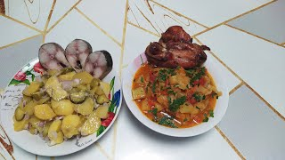 Овощное рагу и салат с картошки и огурцов по рецепту Андрея