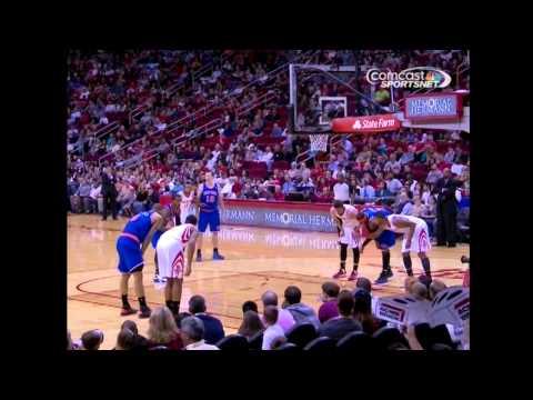 Marcus Morris of Rockets Goes Down - Knicks @ Rockets 11/23/2012