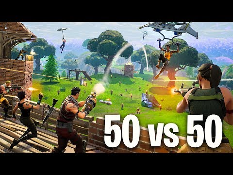 EPIC 50 vs 50 BATTLE in FORTNITE BATTLE ROYALE!!