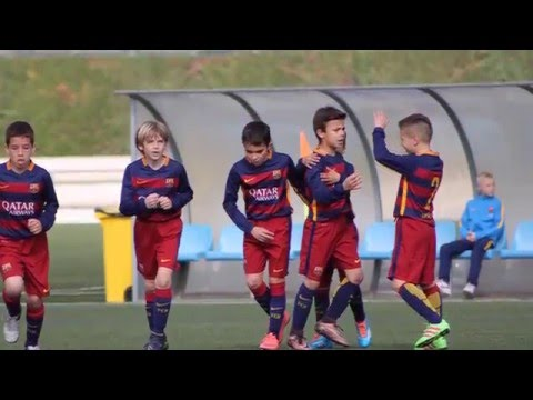 Mérkőzés előtti bemelegítés FC Barcelona U9