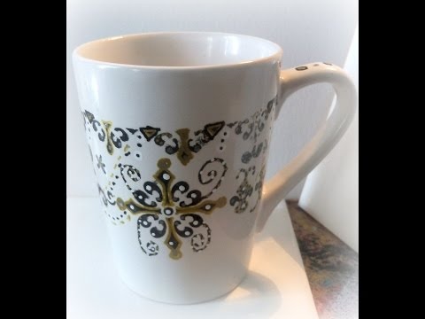 #lovefallart/ DIY Doodle Mugs/ how to paint a mug with glass