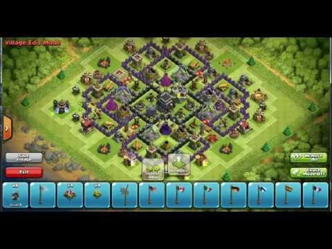 Clash of clans best th9 pushing war base 4 mortars wi doovi