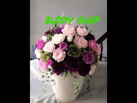 Cách làm hoa hồng đẹp đơn giản từ giấy nhún (How to make paper  flower-rose bouquet)