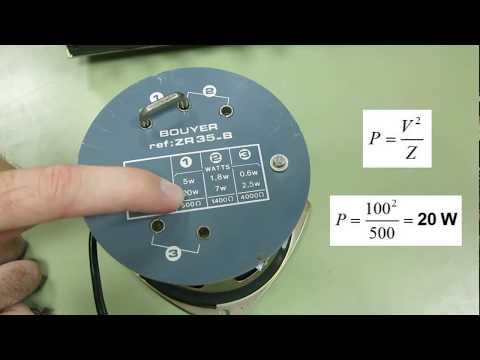 Amplificador de megafonía con transformador - Cálculo de la potencia y número máximo de altavoces