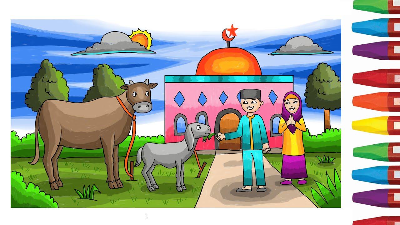 38 Gambar Mewarnai Tema Qurban Paling Populer Lingkar Png