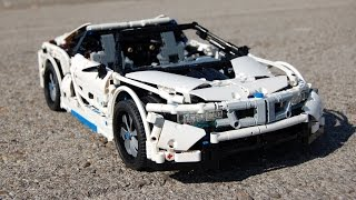 lego bmw i8 spyder with real hybrid drive by sheepo