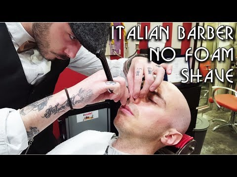 💈 Young Italian Barber - No Foam Face Shave with Shavette and Hot Towel - ASMR video