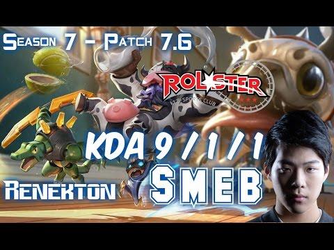 KT Smeb RENEKTON vs FIORA Top - Patch 7.6 KR Ranked