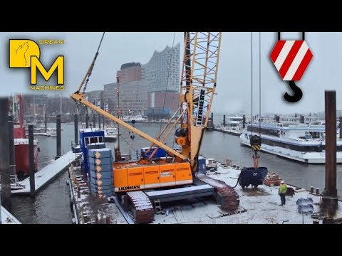 LIEBHERR LR 1280 CRAWLER CRANE ON FLOATING BARGE WITH PILE DRIVER