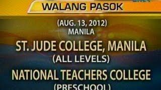 UB: Mga eskwelahan na nananatiling walang pasok ngayong araw (Aug. 13, 2012)