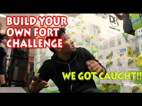 INSANE TOILET PAPER FORT CHALLENGE IN NYC//MIDDLE OF THE AISLE EDITION