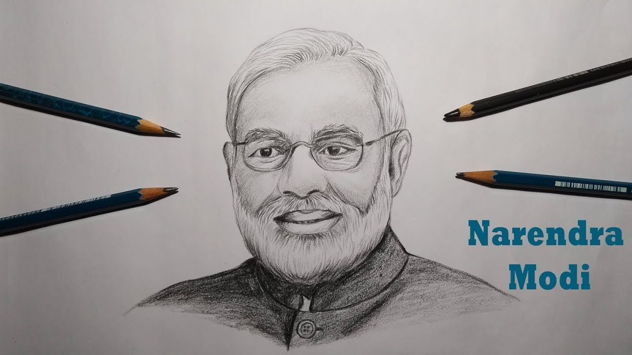 How to draw narendra modi realistic sketch