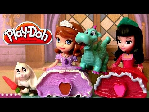 Play Doh Princess Sofia the First & Princesita Vivian With Clover Rabbit Disneyplaydough Travel Video