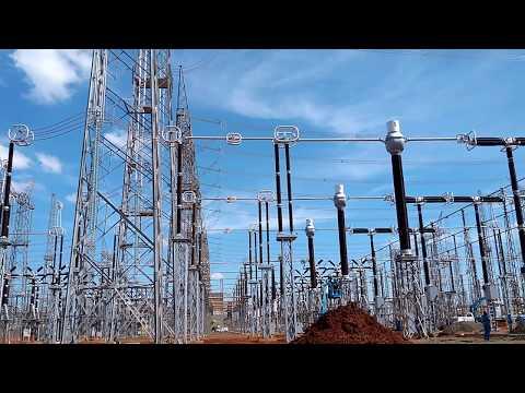 Ensaio de secionador semi-pantográfico 800 kV em Furnas Foz do Iguaçu.