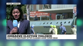 Zimbabwe elections: calls for restraint after clashes leave three dead.