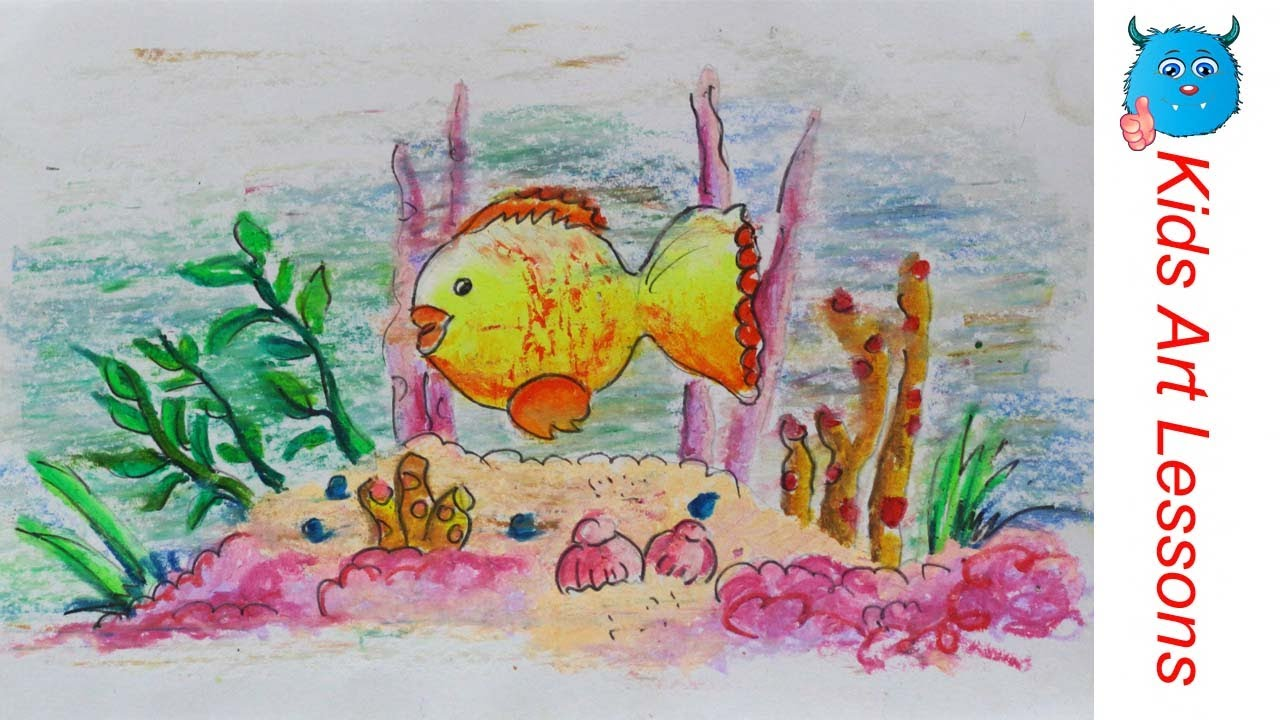 Easy pastel drawings of fish images for Fish scenery drawing