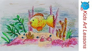 Easy Scenery Drawing :How to Draw Under Water Fish Swimming Step by Step in Oil Pastel