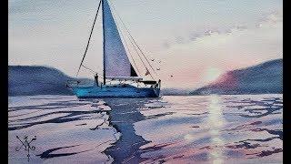 Морской пейзаж с корабликом акварелью