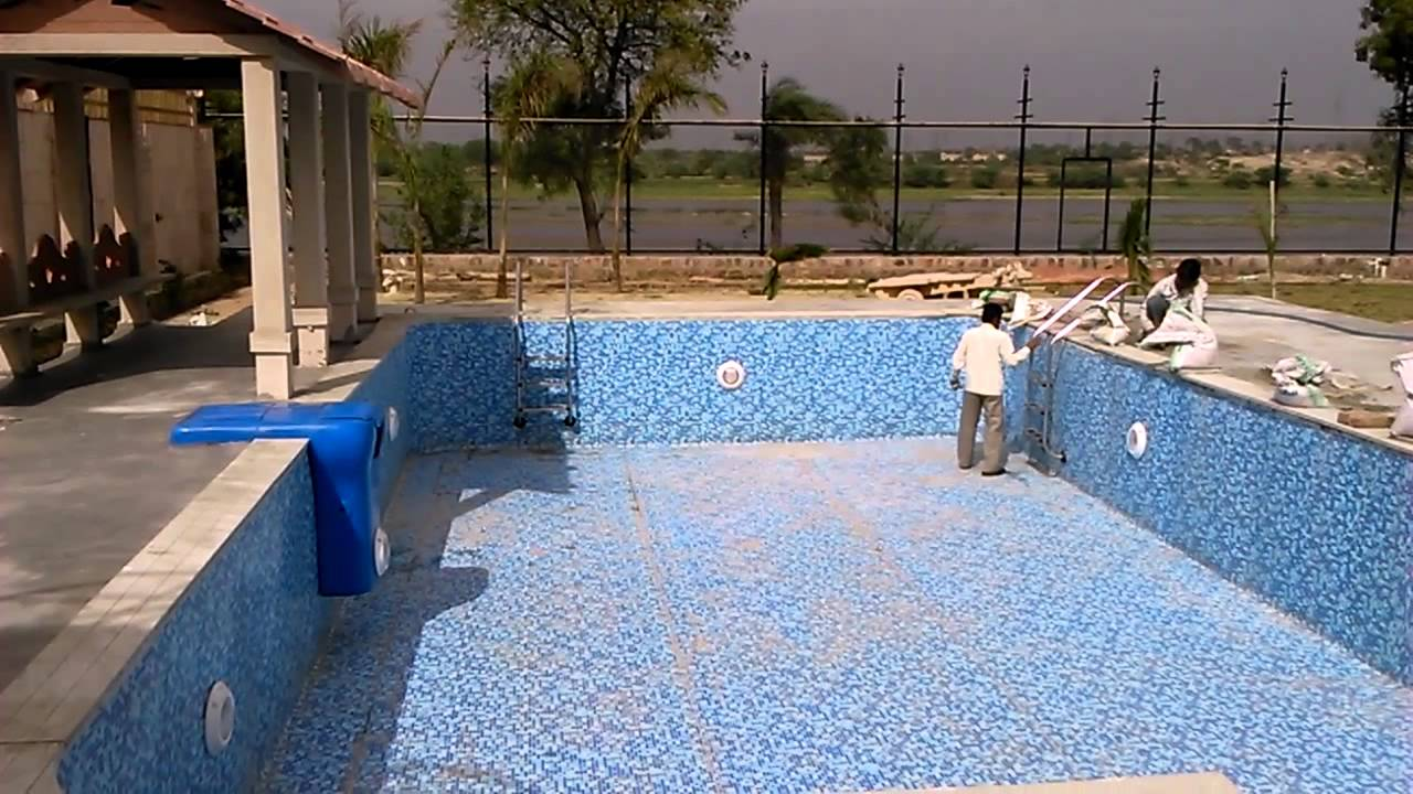 liner prefabricated swimming pool installation - YouTube
