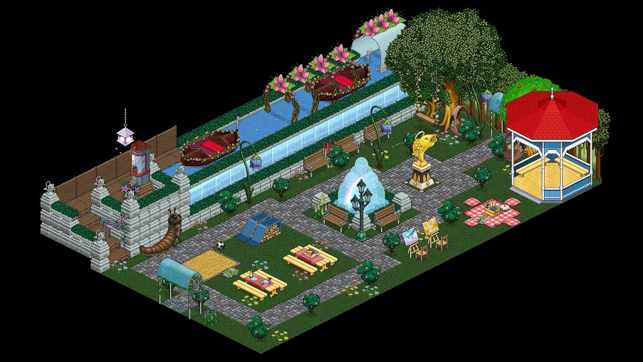 Habbo  How To Build A Park Tutorial  YouTube