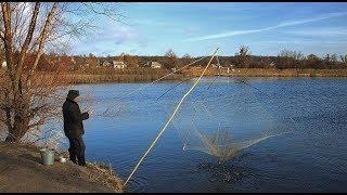 Рыбалка на паук   (подъёмник)  в малой реке.