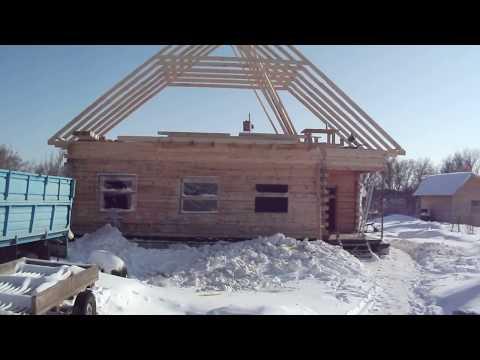 Дом из бруса-строим мансардную крышу.