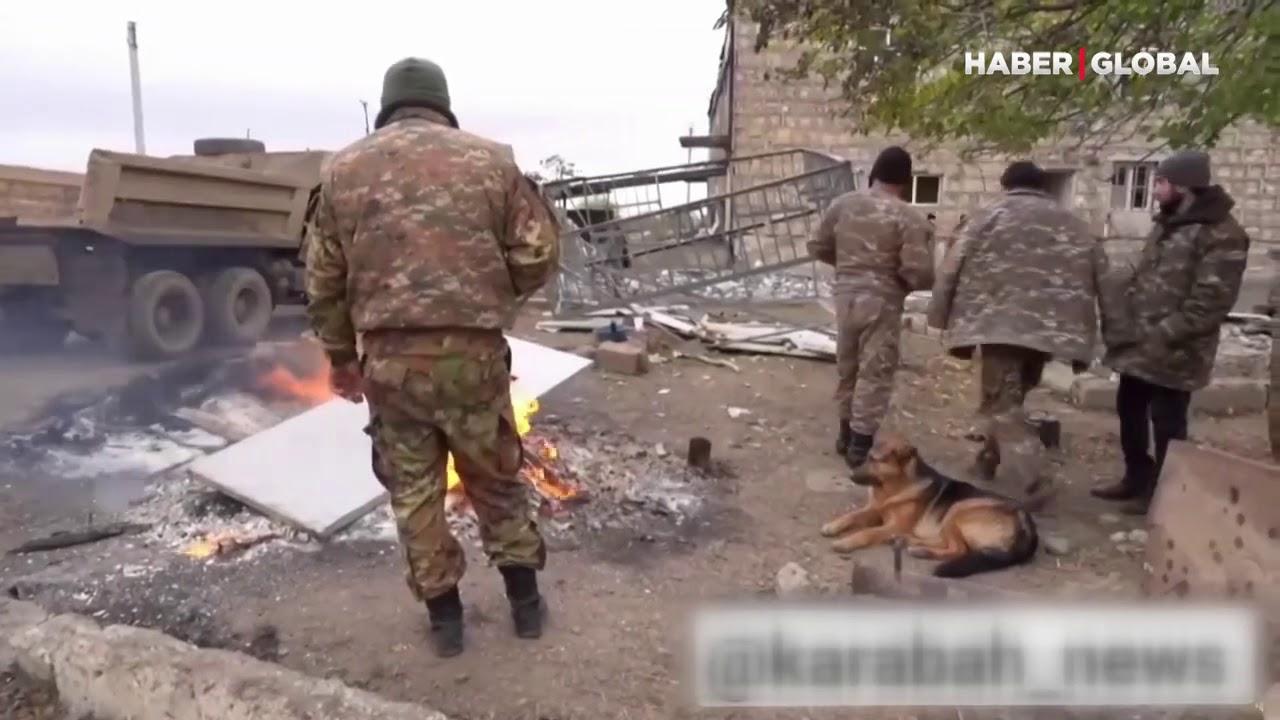 Ermenistan Ağdam'dan Çıkarken De Ekolojik Terör Uyguladı! Yakıp Yıkıp Vinçlerle